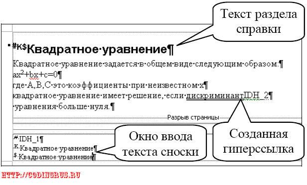 Разметка текста разделов справки