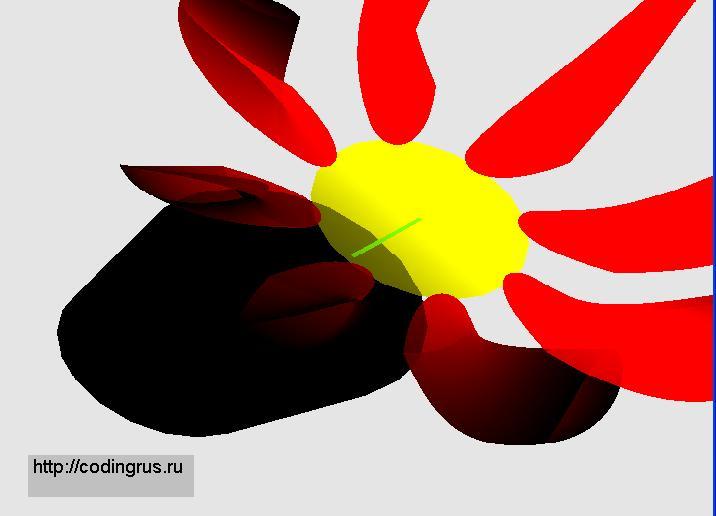 Программа рисует цветок.