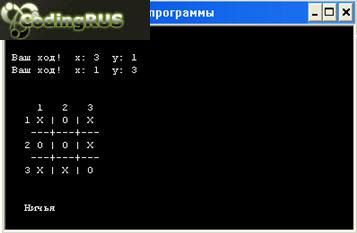Результат работы программы игры «крестики нолики» ничья